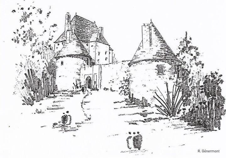 """Carte postale tirée du livre """"Croquis Bourbonnais"""" de Robert Génermont"""