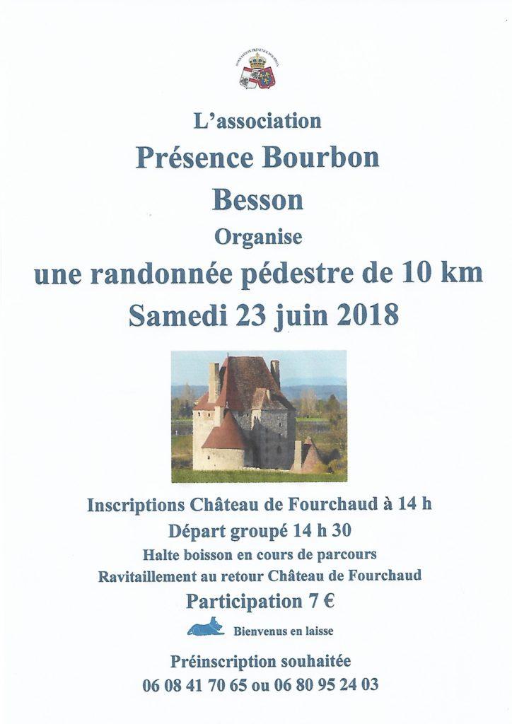 Affiche randonnée Présence Bourbon du 23 juin 2018 autour château Fourchaud